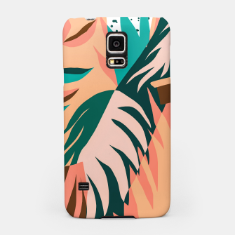 Miniaturka Watching The Leaves Turn, Tropical Autumn Colorful Eclectic Abstract Palm Nature Boho Graphic Design Samsung Case, Live Heroes