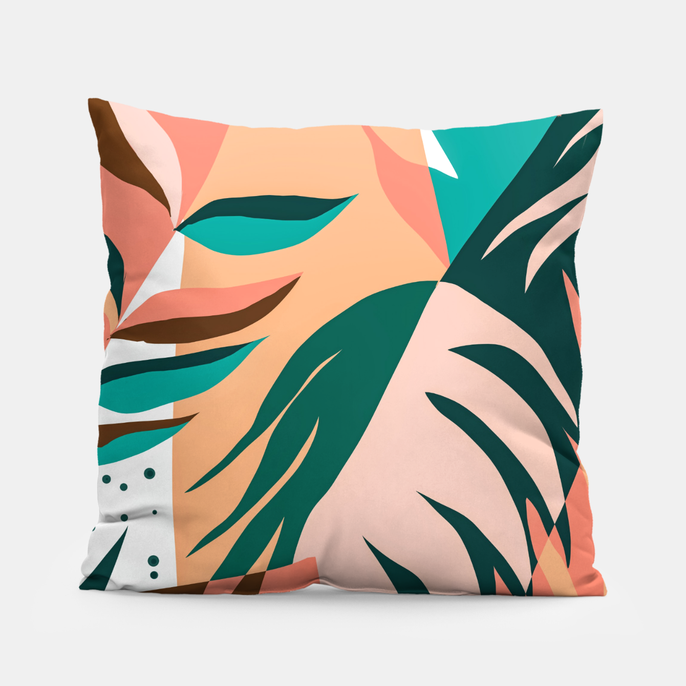 Image of Watching The Leaves Turn, Tropical Autumn Colorful Eclectic Abstract Palm Nature Boho Graphic Design Pillow - Live Heroes