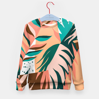 Miniaturka Watching The Leaves Turn, Tropical Autumn Colorful Eclectic Abstract Palm Nature Boho Graphic Design Kid's sweater, Live Heroes