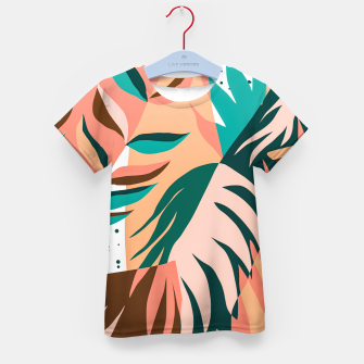 Miniaturka Watching The Leaves Turn, Tropical Autumn Colorful Eclectic Abstract Palm Nature Boho Graphic Design Kid's t-shirt, Live Heroes