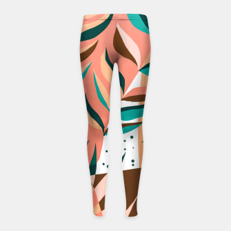 Miniaturka Watching The Leaves Turn, Tropical Autumn Colorful Eclectic Abstract Palm Nature Boho Graphic Design Girl's leggings, Live Heroes