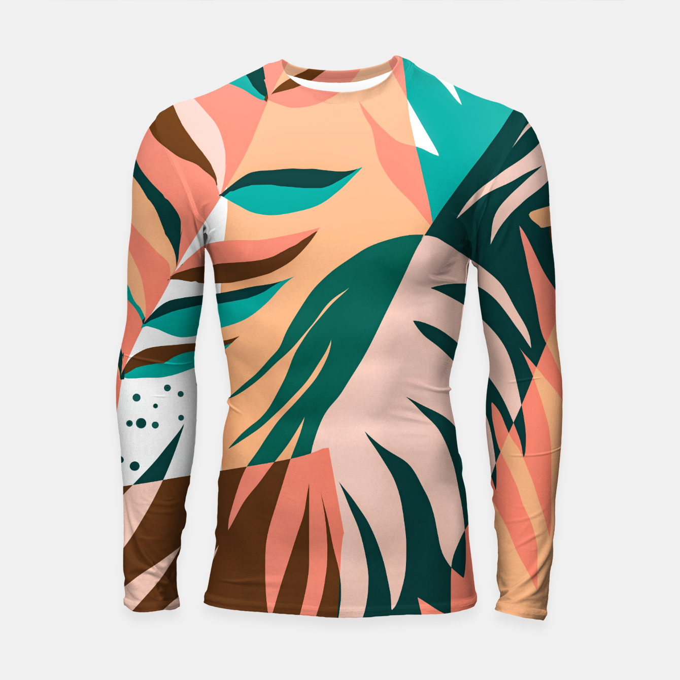 Image of Watching The Leaves Turn, Tropical Autumn Colorful Eclectic Abstract Palm Nature Boho Graphic Design Longsleeve rashguard  - Live Heroes