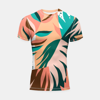 Imagen en miniatura de Watching The Leaves Turn, Tropical Autumn Colorful Eclectic Abstract Palm Nature Boho Graphic Design Shortsleeve rashguard, Live Heroes