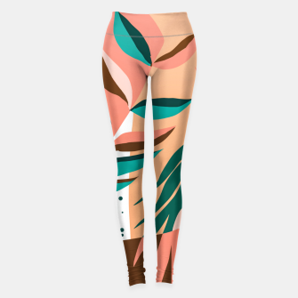 Imagen en miniatura de Watching The Leaves Turn, Tropical Autumn Colorful Eclectic Abstract Palm Nature Boho Graphic Design Leggings, Live Heroes