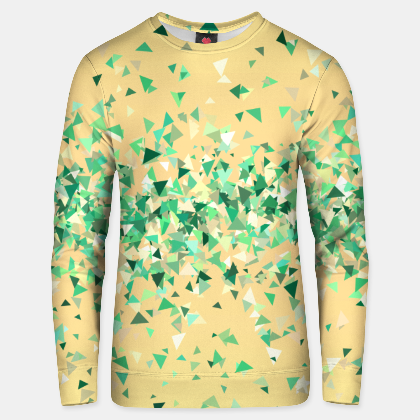 Image of Summer breeze, abstract beach print in yellow and green Unisex sweater - Live Heroes