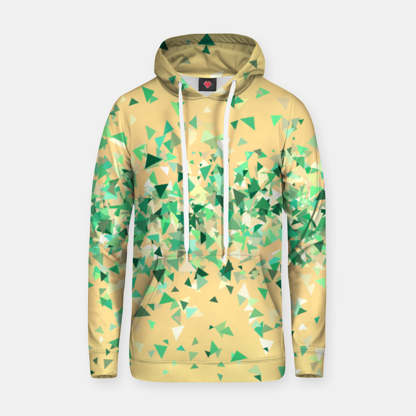Image of Summer breeze, abstract beach print in yellow and green Hoodie - Live Heroes