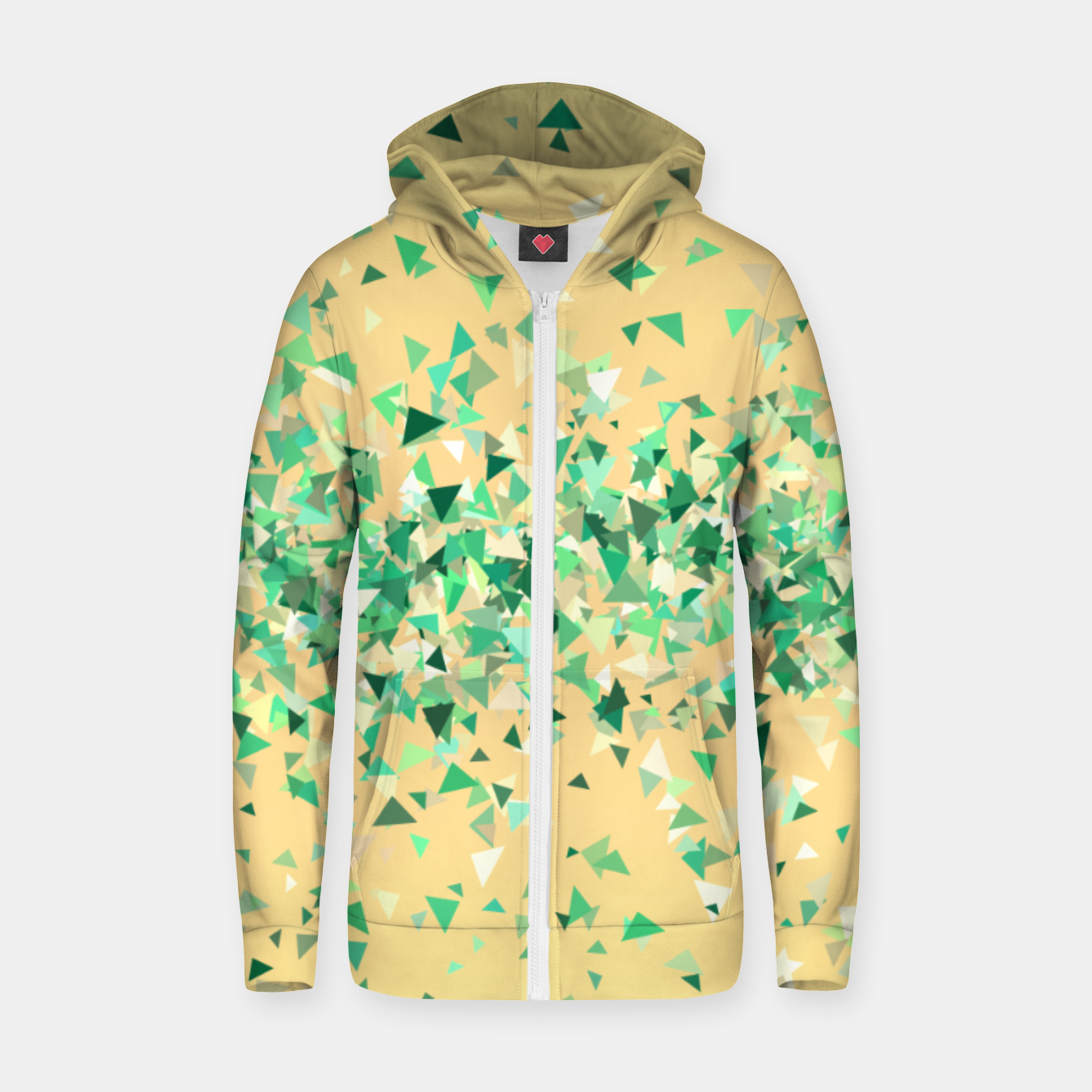 Image of Summer breeze, abstract beach print in yellow and green Zip up hoodie - Live Heroes