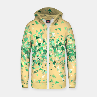 Summer breeze, abstract beach print in yellow and green Zip up hoodie thumbnail image