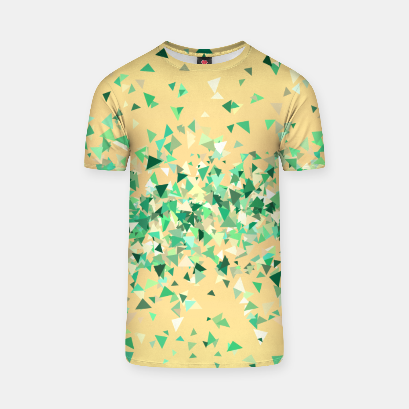 Image of Summer breeze, abstract beach print in yellow and green T-shirt - Live Heroes