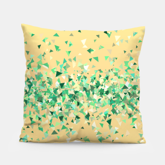 Summer breeze, abstract beach print in yellow and green Pillow thumbnail image