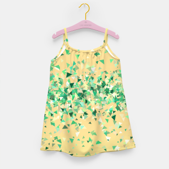 Summer breeze, abstract beach print in yellow and green Girl's dress thumbnail image