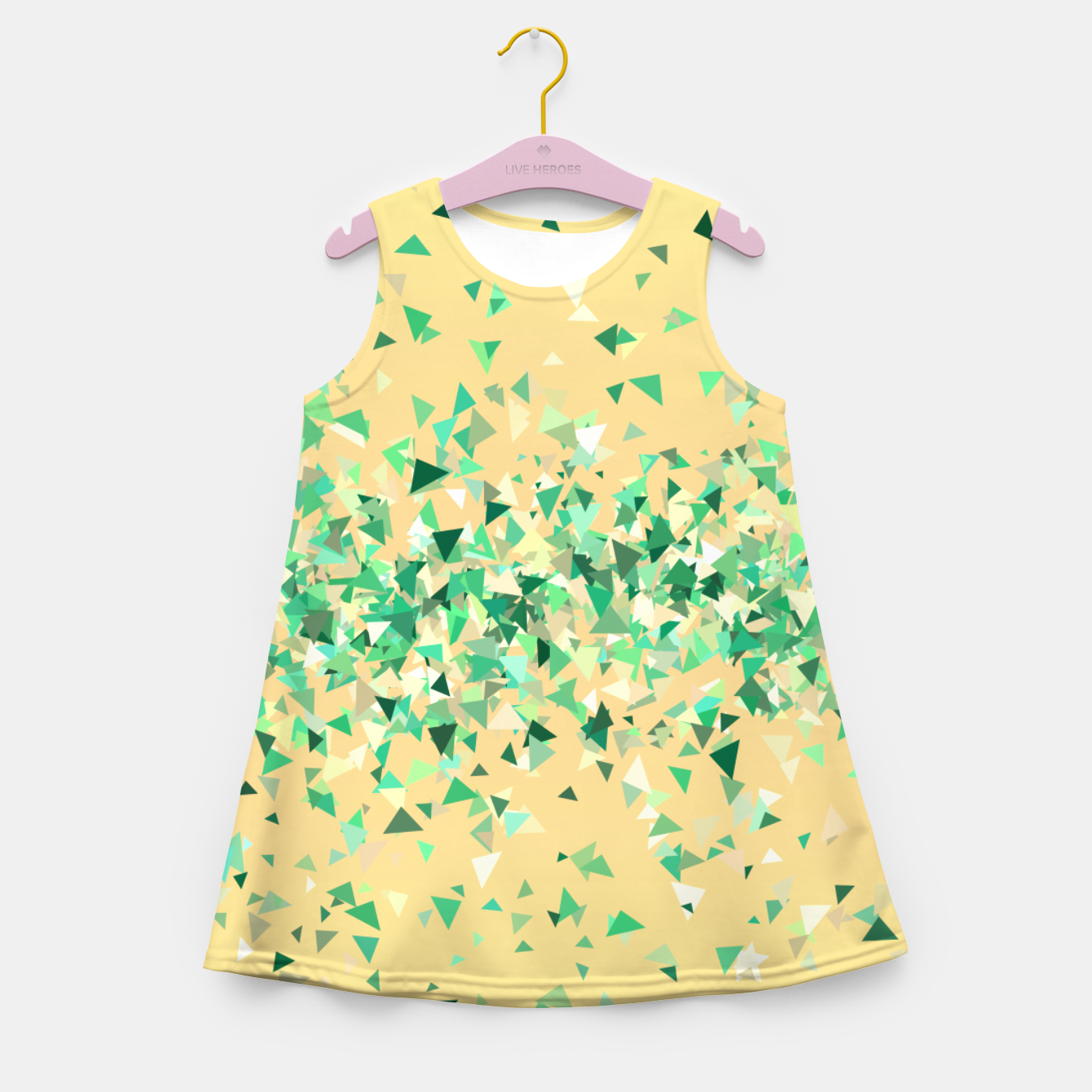 Image of Summer breeze, abstract beach print in yellow and green Girl's summer dress - Live Heroes