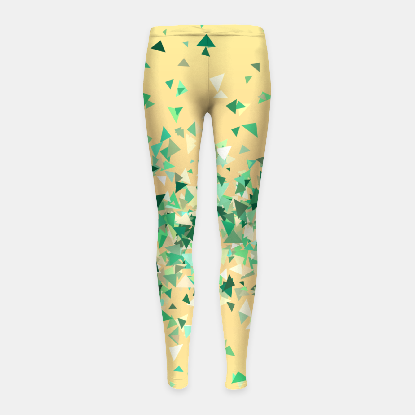 Image of Summer breeze, abstract beach print in yellow and green Girl's leggings - Live Heroes