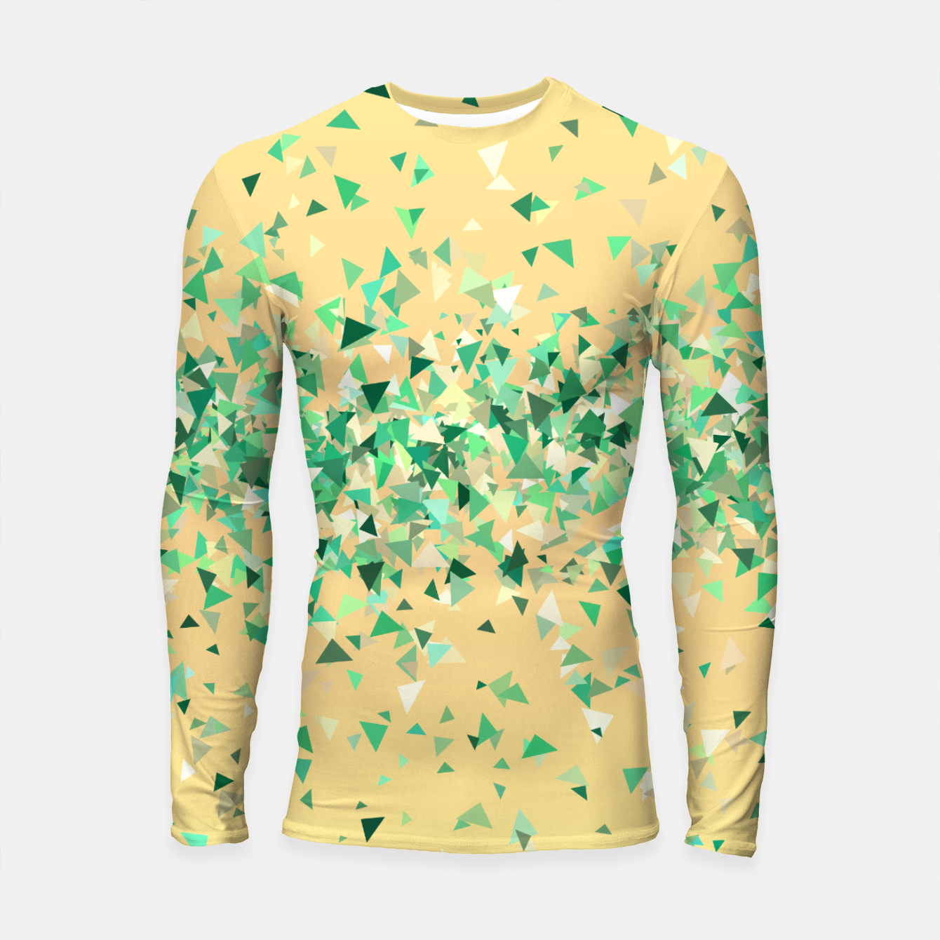 Image of Summer breeze, abstract beach print in yellow and green Longsleeve rashguard  - Live Heroes