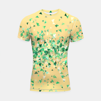 Thumbnail image of Summer breeze, abstract beach print in yellow and green Shortsleeve rashguard, Live Heroes