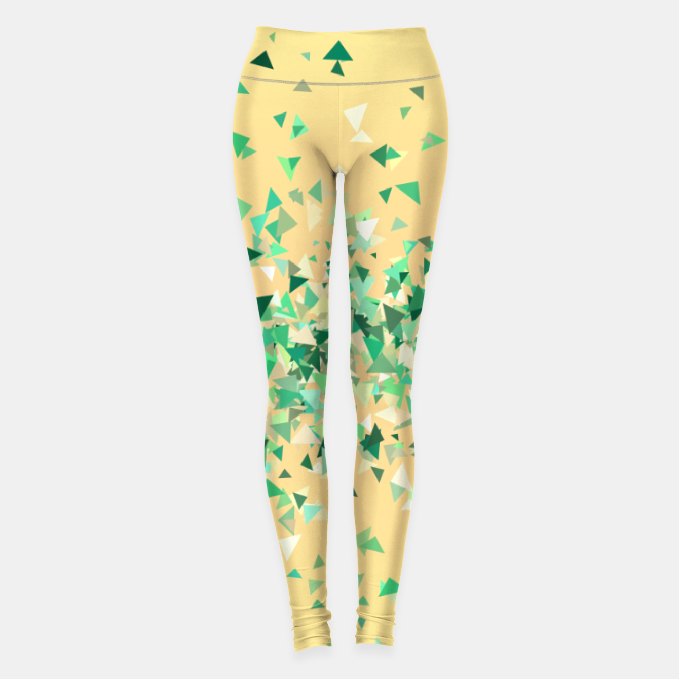 Image of Summer breeze, abstract beach print in yellow and green Leggings - Live Heroes