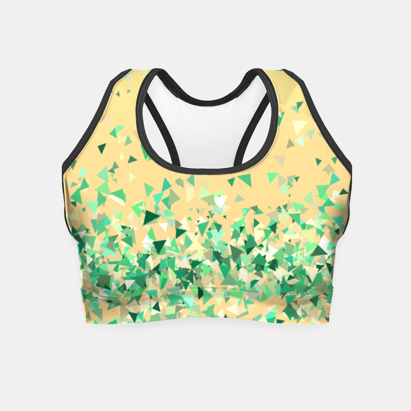 Image of Summer breeze, abstract beach print in yellow and green Crop Top - Live Heroes