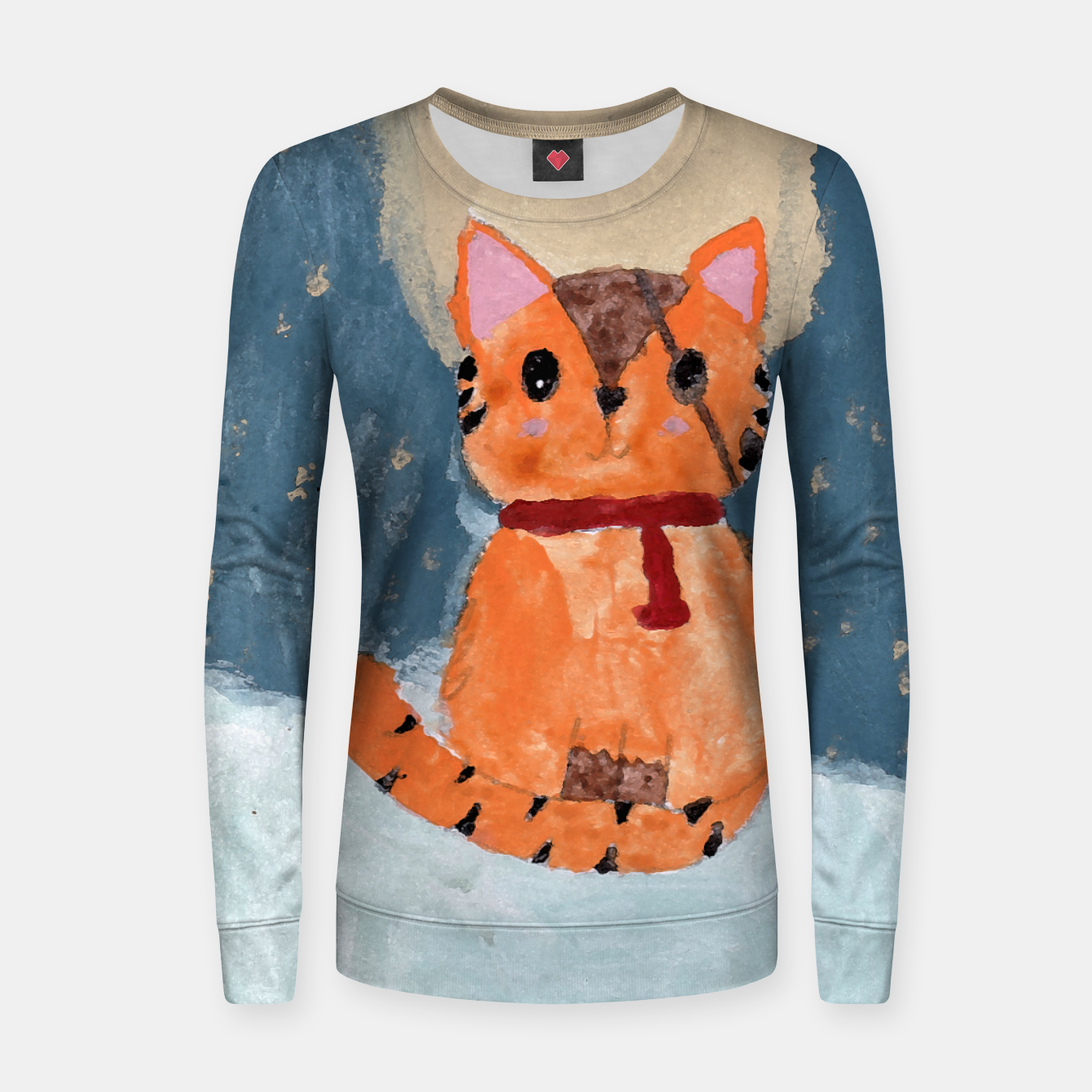Image of Natali's tiger kitty with pirate eye bandage, a promise to my daughter Women sweater - Live Heroes