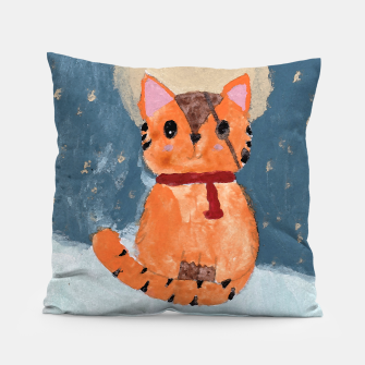 Natali's tiger kitty with pirate eye bandage, a promise to my daughter Pillow thumbnail image