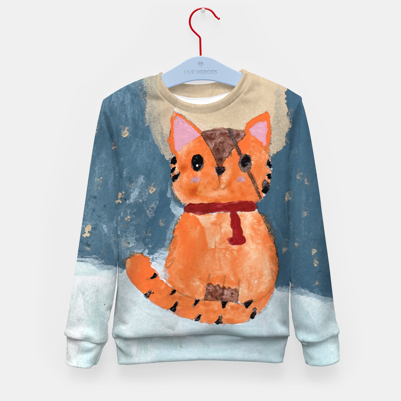Image of Natali's tiger kitty with pirate eye bandage, a promise to my daughter Kid's sweater - Live Heroes