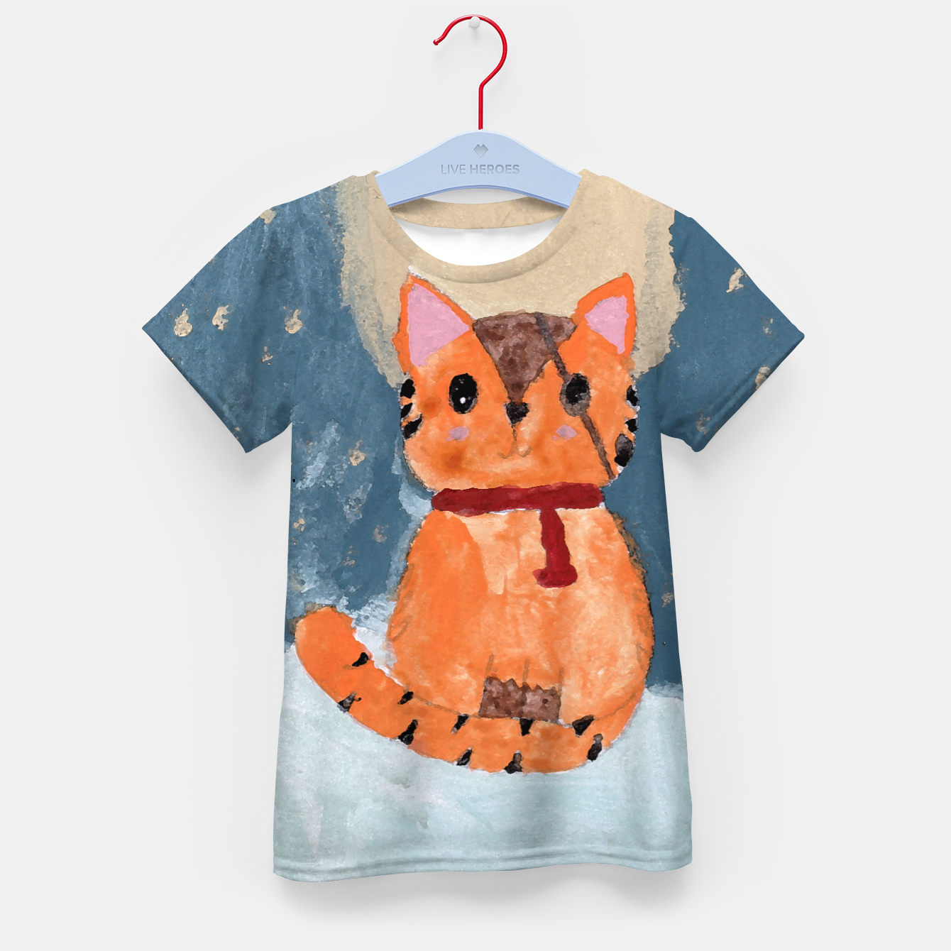 Image of Natali's tiger kitty with pirate eye bandage, a promise to my daughter Kid's t-shirt - Live Heroes