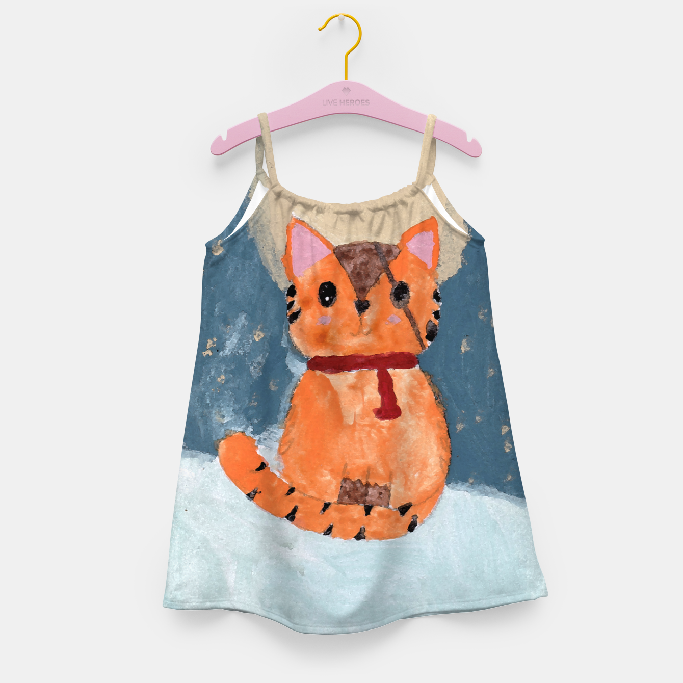 Image of Natali's tiger kitty with pirate eye bandage, a promise to my daughter Girl's dress - Live Heroes