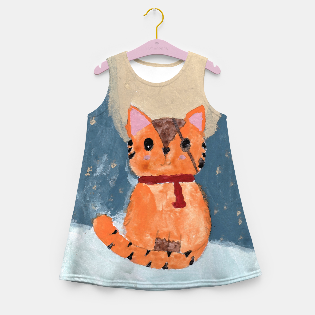 Image of Natali's tiger kitty with pirate eye bandage, a promise to my daughter Girl's summer dress - Live Heroes