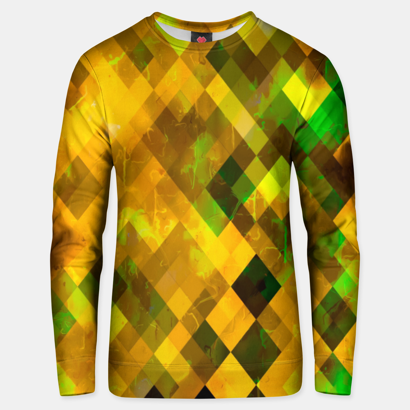 Image of geometric square pixel pattern abstract background in brown green yellow Unisex sweater - Live Heroes