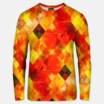 geometric square pixel pattern abstract background in red yellow Unisex sweater thumbnail image