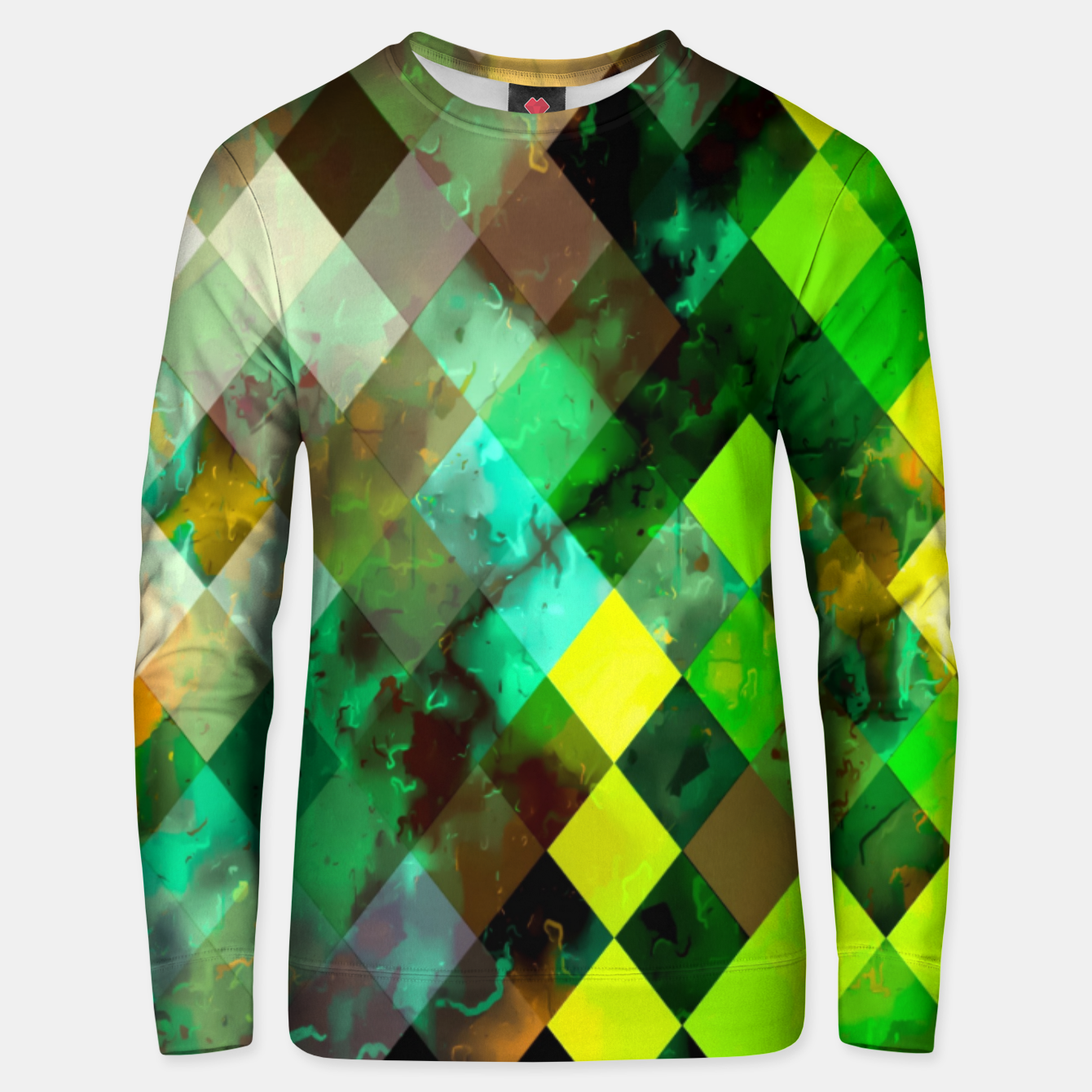 Image of geometric square pixel pattern abstract background in green yellow brown Unisex sweater - Live Heroes