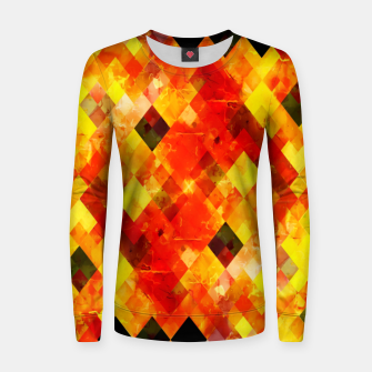 geometric square pixel pattern abstract background in red yellow Women sweater thumbnail image