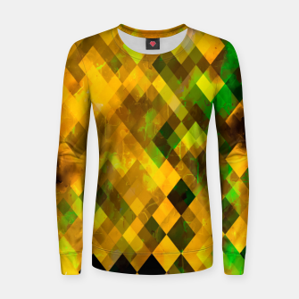 geometric square pixel pattern abstract background in brown green yellow Women sweater thumbnail image