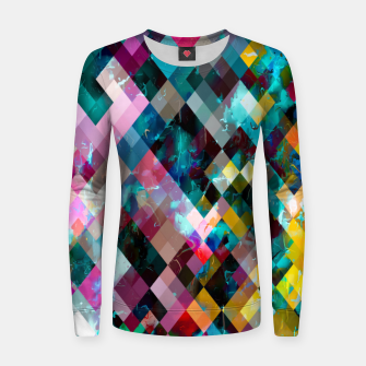 Miniaturka geometric square pixel pattern abstract background in blue pink orange purple Women sweater, Live Heroes
