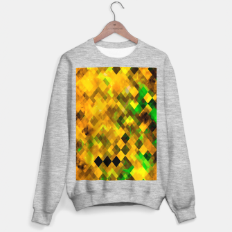 geometric square pixel pattern abstract background in brown green yellow Sweater regular thumbnail image