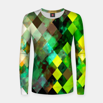 geometric square pixel pattern abstract background in green yellow brown Women sweater thumbnail image