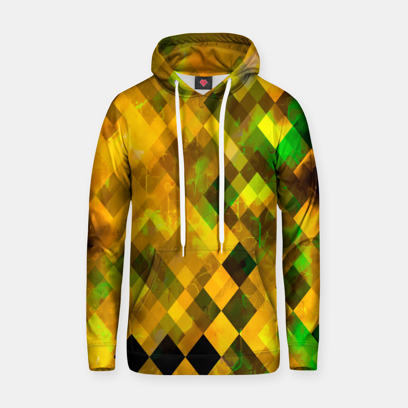 Image of geometric square pixel pattern abstract background in brown green yellow Hoodie - Live Heroes