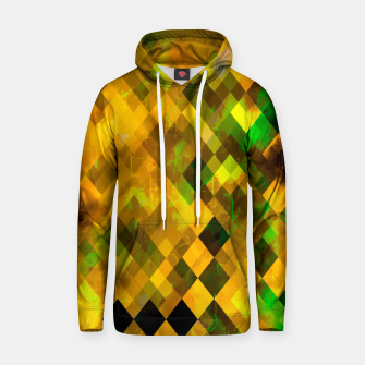 geometric square pixel pattern abstract background in brown green yellow Hoodie thumbnail image