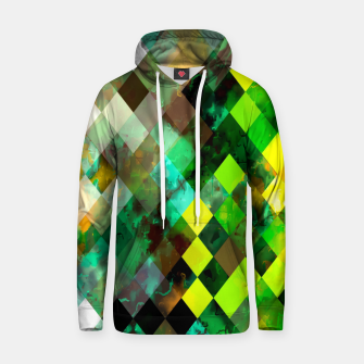 geometric square pixel pattern abstract background in green yellow brown Hoodie thumbnail image