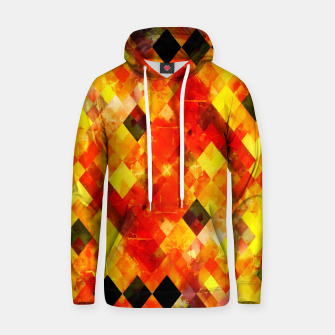 geometric square pixel pattern abstract background in red yellow Hoodie thumbnail image