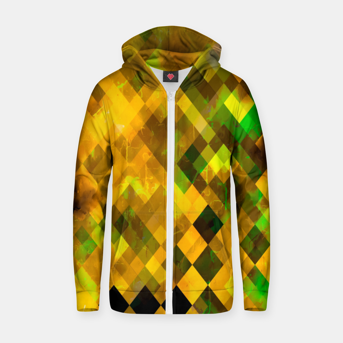 Image of geometric square pixel pattern abstract background in brown green yellow Zip up hoodie - Live Heroes