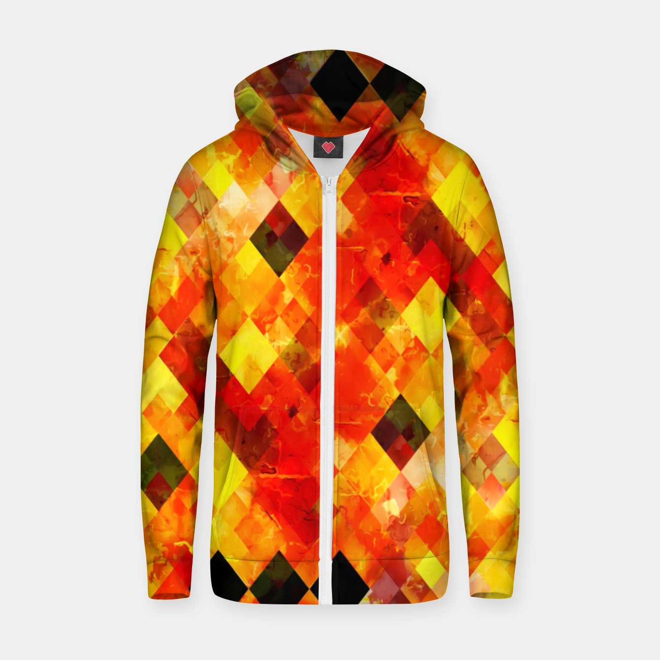 Image of geometric square pixel pattern abstract background in red yellow Zip up hoodie - Live Heroes