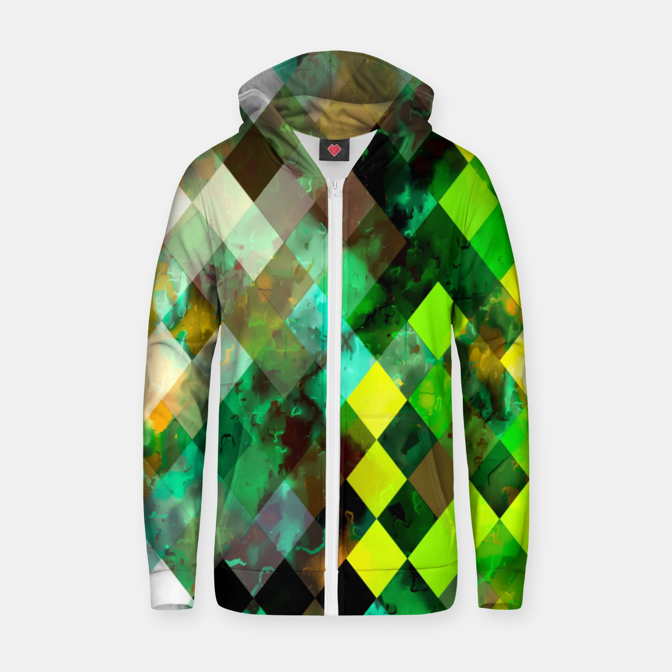 Image of geometric square pixel pattern abstract background in green yellow brown Zip up hoodie - Live Heroes