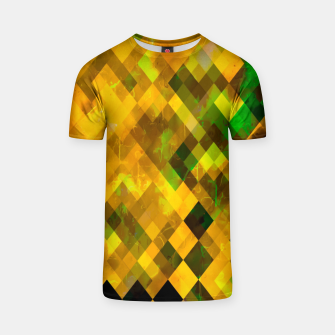 geometric square pixel pattern abstract background in brown green yellow T-shirt thumbnail image
