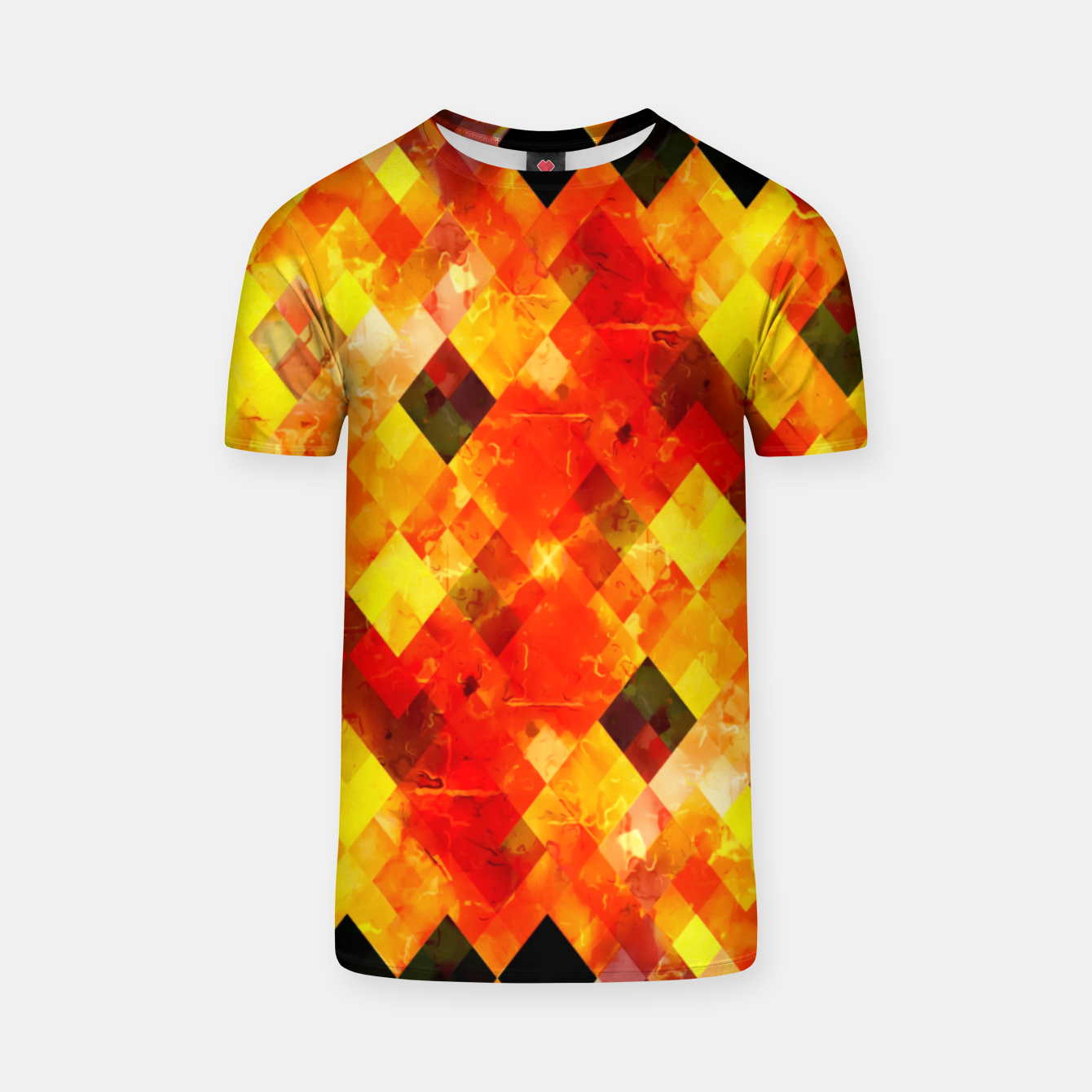 Image of geometric square pixel pattern abstract background in red yellow T-shirt - Live Heroes