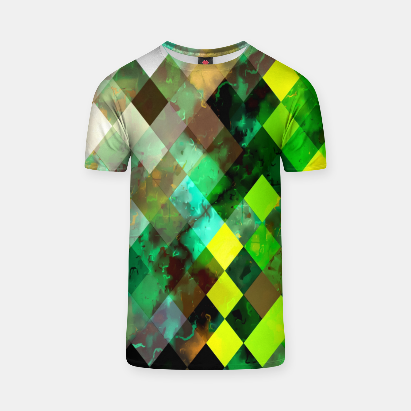 Image of geometric square pixel pattern abstract background in green yellow brown T-shirt - Live Heroes