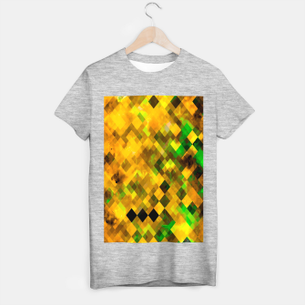geometric square pixel pattern abstract background in brown green yellow T-shirt regular thumbnail image