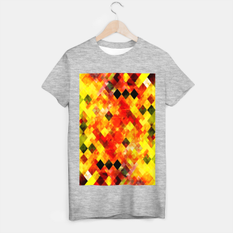 geometric square pixel pattern abstract background in red yellow T-shirt regular thumbnail image