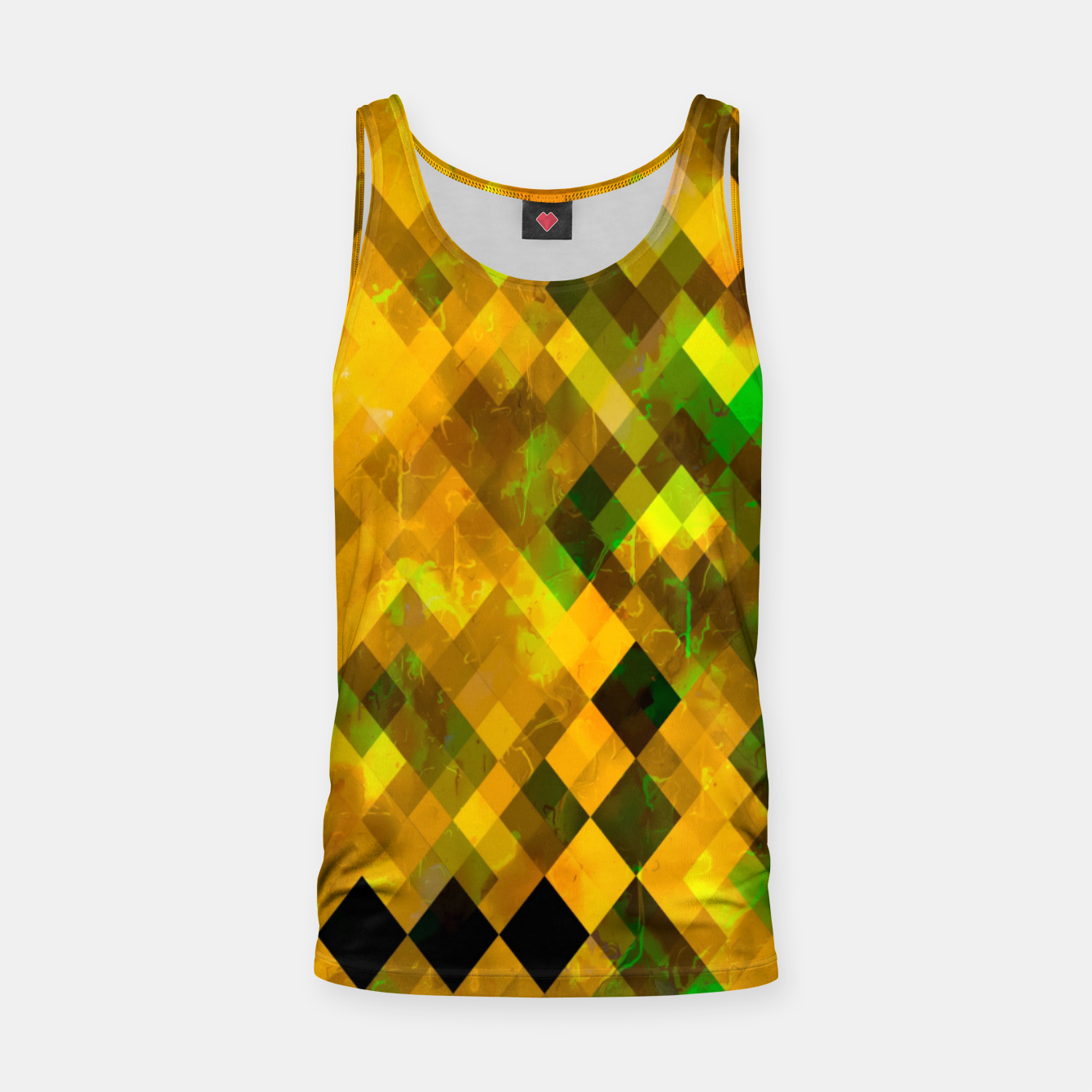 Image of geometric square pixel pattern abstract background in brown green yellow Tank Top - Live Heroes