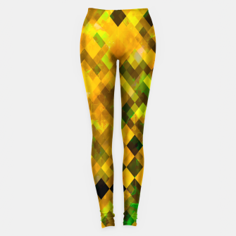 geometric square pixel pattern abstract background in brown green yellow Leggings thumbnail image