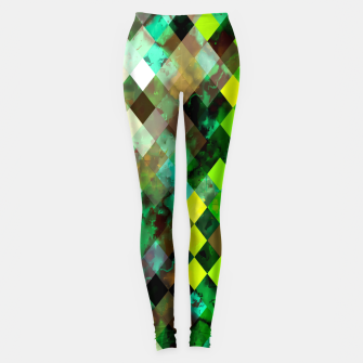geometric square pixel pattern abstract background in green yellow brown Leggings thumbnail image